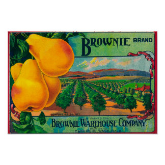 Brownie Pear Crate LabelCashmere, WA Poster