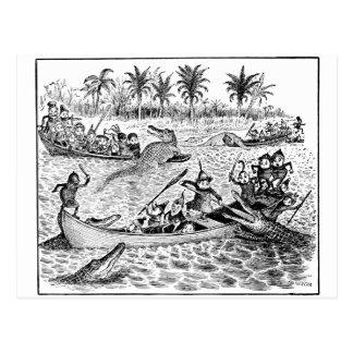 Brownie que luchan cocodrilos tarjetas postales