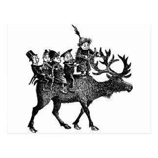 Brownie que montan el reno postal
