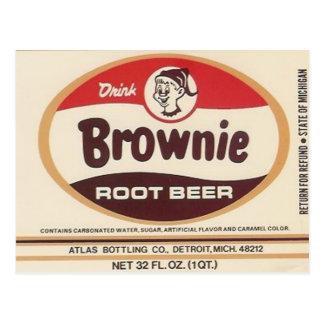 brownie root beer label post card