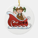 Brownie Scout Sled Brunette Ceramic Ornament