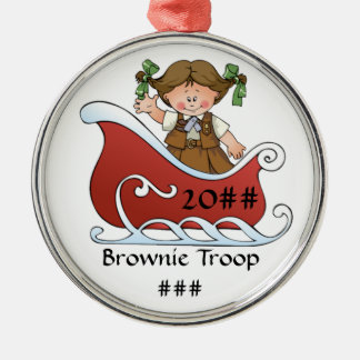 Brownie Scout Sled Brunette Round Metal Christmas Ornament