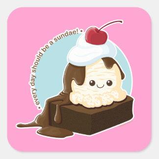 Brownie Sundae Square Sticker