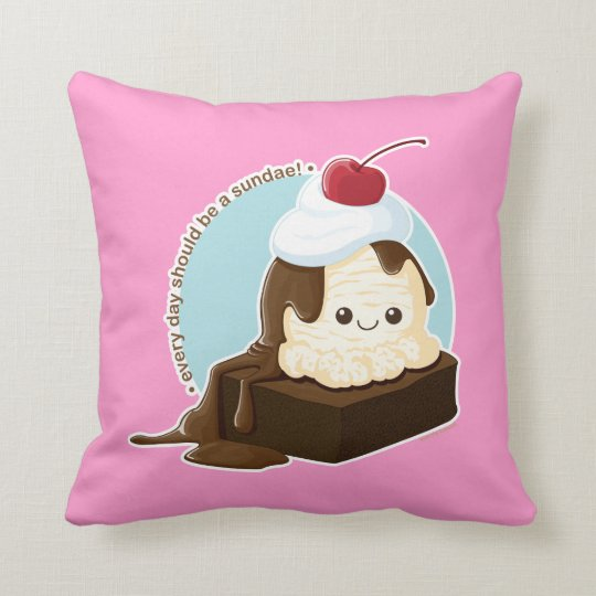 Brownie Sundae Throw Pillow
