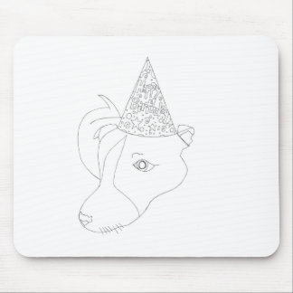 Brownie the birthday dog - (line drawing) mouse pad