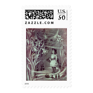 Brownies and Daffodils Antique Illustration Postage
