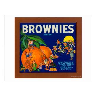 Brownies Brand Citrus Crate Label Postcard