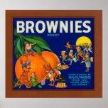 Brownies Brand Citrus Crate Label Poster