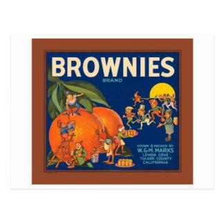 Brownies Brand Vintage Fruit Crate Label Postcard