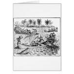 Brownies Fighting Alligators Greeting Card