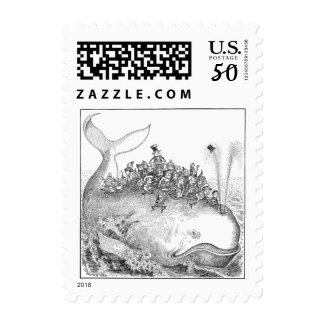 Brownies Riding a Whale Postage