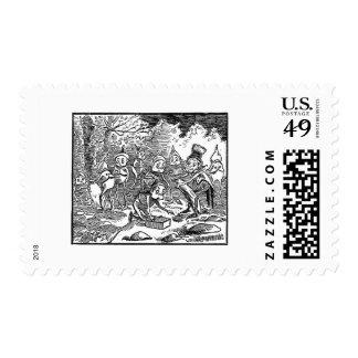 Brownies Turning Over Rocks Postage Stamp