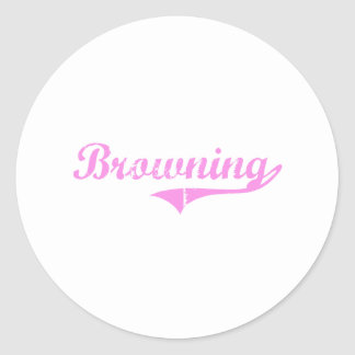 Browning Last Name Classic Style Round Sticker