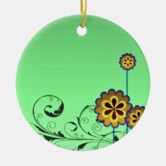 Brownish blossom and Greenish swirls Christmas Tree Ornaments