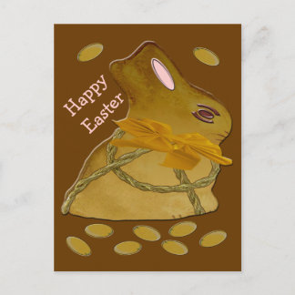 Brownish Bunny Happy Easter Holiday Postcard