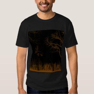 Brownish Orangish Landscape, Trees, Grass, Birds T-shirt