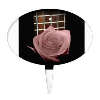 Brownish pink single rose against fretboard oval cake toppers