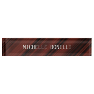 Brownish Red Black Plain Legible Modern Style Desk Name Plate