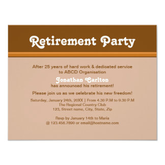 Brownish Retirement Party 4.25x5.5 Paper Invitation Card