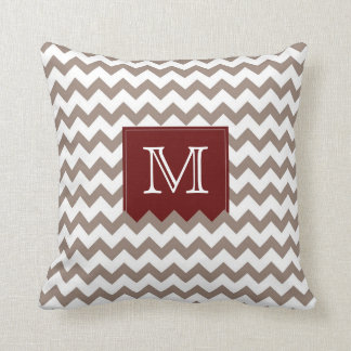 Brownish tan Zig Zag Pattern with deep red box Throw Pillow