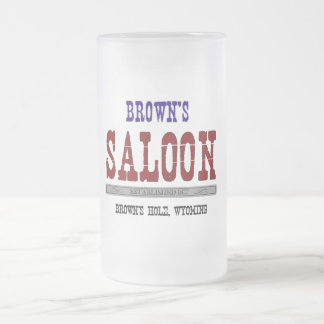 Brown's Saloon Frosted Glass Beer Mug