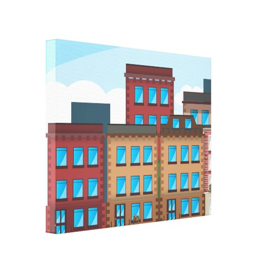 Brownstone Buildings Canvas Print