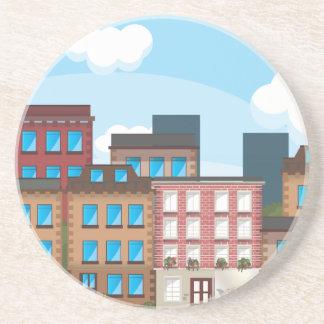 Brownstone Buildings Coaster