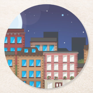 Brownstone Buildings Round Paper Coaster