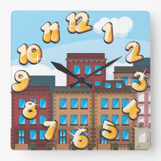 Brownstone Buildings Square Wall Clock