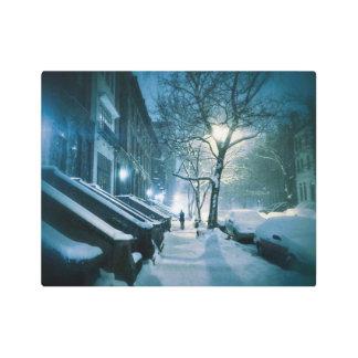 Brownstones Blanketed In Snow Metal Photo Print