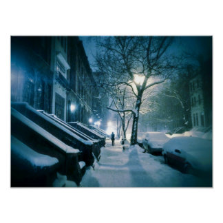 Brownstones Blanketed In Snow Poster