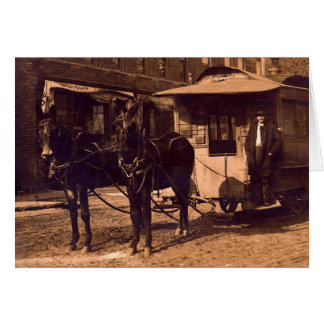 Brownstown, carretilla traída por caballo 1907 de tarjeta de felicitación