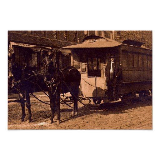 Brownstown Indiana 1907 Horse Drawn Trolley Poster