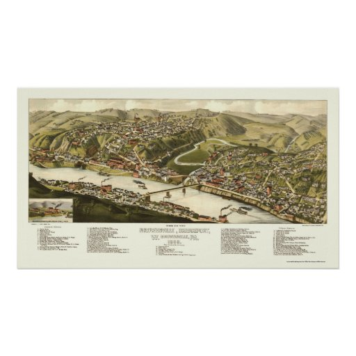 Brownsville, mapa panorámico del PA - 1883 Poster