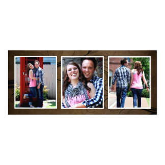 Browntone Save the Date Triple Photo Wedding Cards
