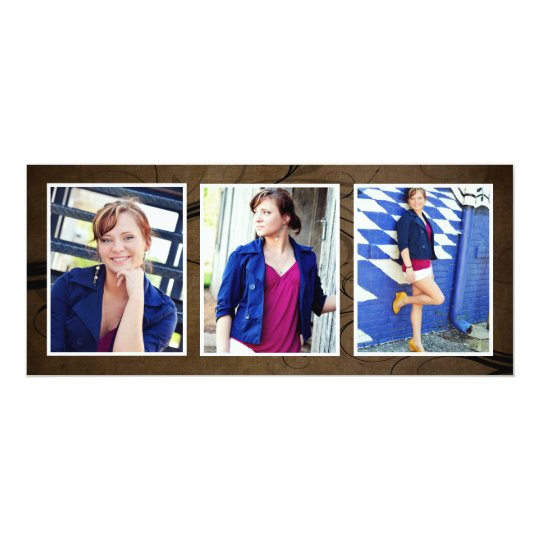 Browntone Triple Photo Graduation Cards