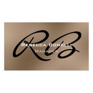 Browny Black White Monogram Manager Business Card