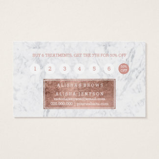 Brows faux rose gold typography marble loyalty 2 business card