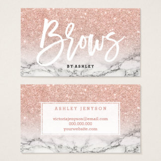 Brows typography rose gold glitter marble business card