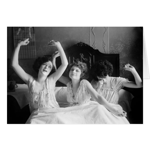 Brox Sisters in Bed, 1920s Greeting Card