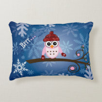 Brrr...Pink Owl, Snowflake Design Accent Pillow