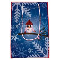 Brrr...Pink Owl, Snowflake Design Medium Gift Bag