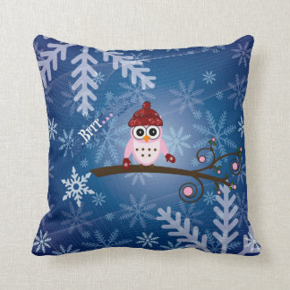 Brrr...Pink Owl, Snowflake Design Throw Pillow