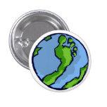 BRS Artsy Green Foot Globe Round Pinback Button