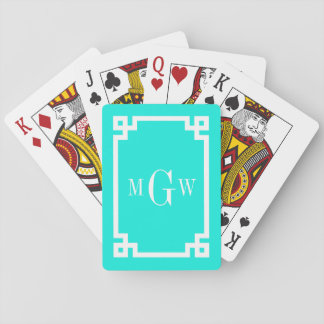 Brt Aqua Wht Greek Key #2 Framed 3 Init Monogram Playing Cards