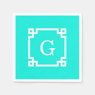 Brt Aqua Wht Greek Key #2 Framed Initial Monogram Paper Napkin
