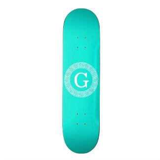 Brt Aqua Wht Greek Key Rnd Frame Initial Monogram Skateboard