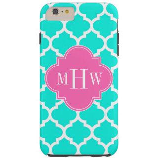 Brt Aqua Wht Moroccan #5 HotPink2 Initial Monogram Tough iPhone 6 Plus Case