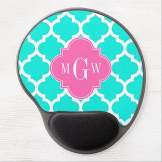 Brt Aqua Wht Moroccan #5 HotPink2 Initial Monogram Gel Mouse Pad