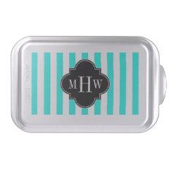 Brt Aqua Wht Stripe Black Quatrefoil 3 Monogram Cake Pan